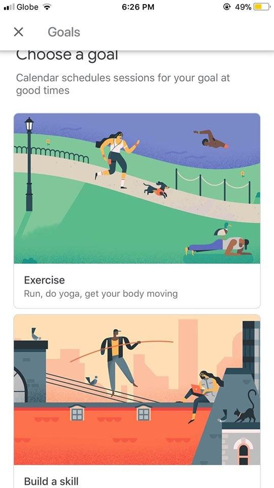 Goals on iOS by Google Calendar