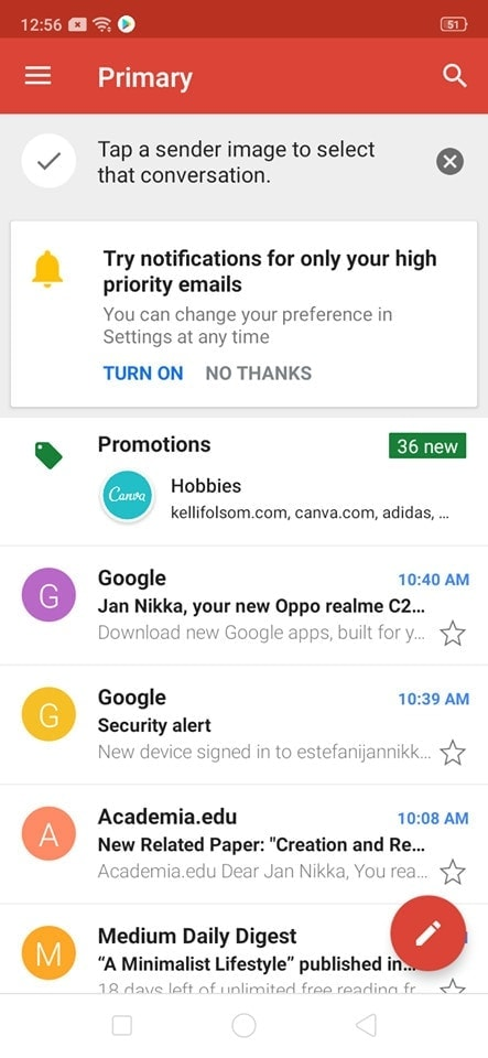 Home on Android by Gmail