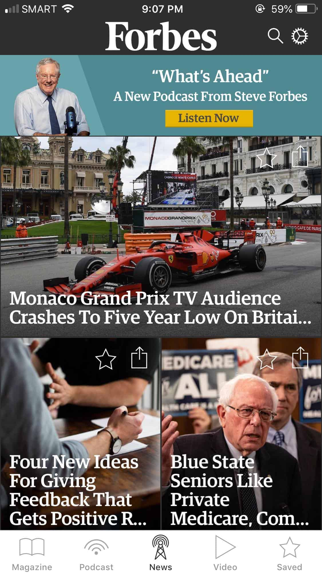 Homepage on iOS by Forbes