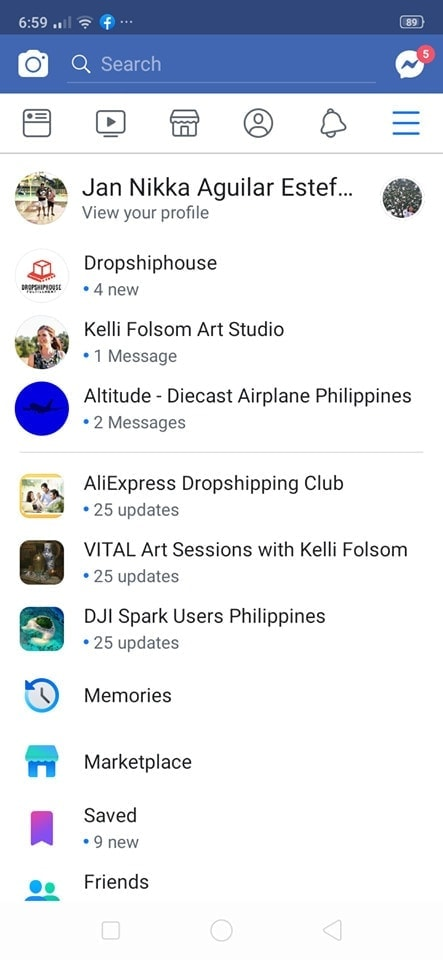 Menu on Android by Facebook