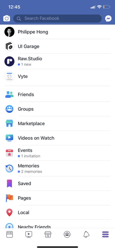 Menu Page on iOS by Facebook from UIGarage