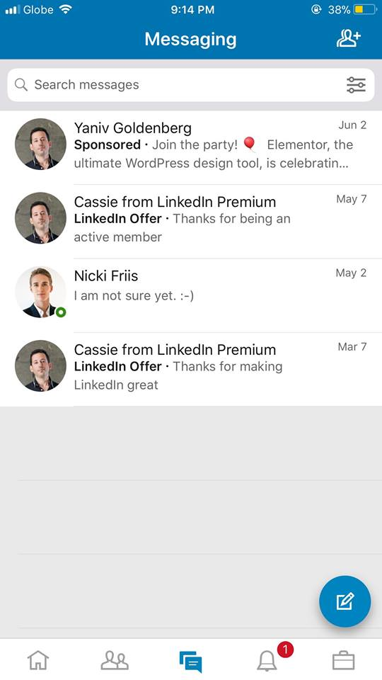 Messages on iOS by LinkedIn