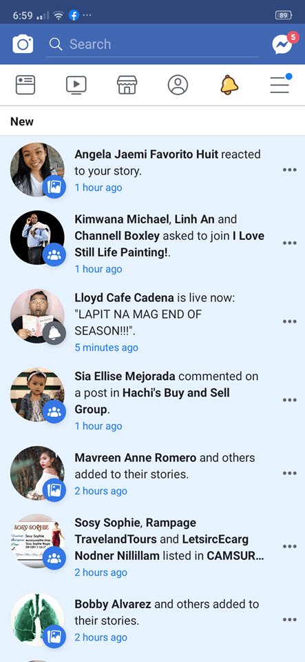 Notifications on Android by Facebook