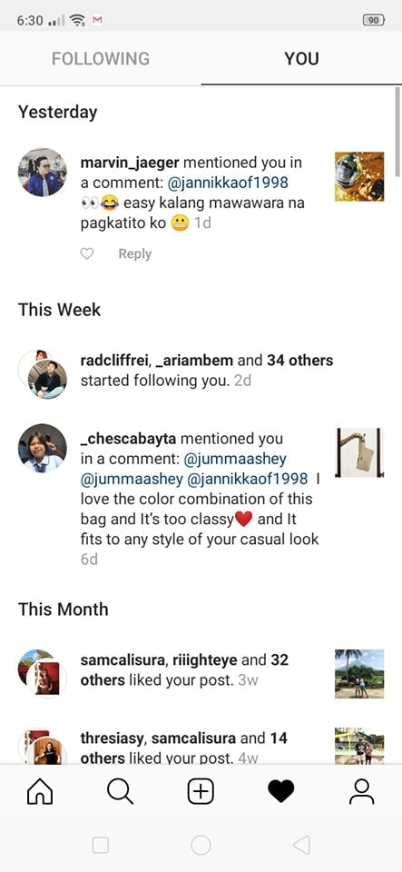 Notifications on Android by Instagram