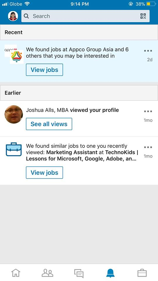 Notifications on iOS by LinkedIn