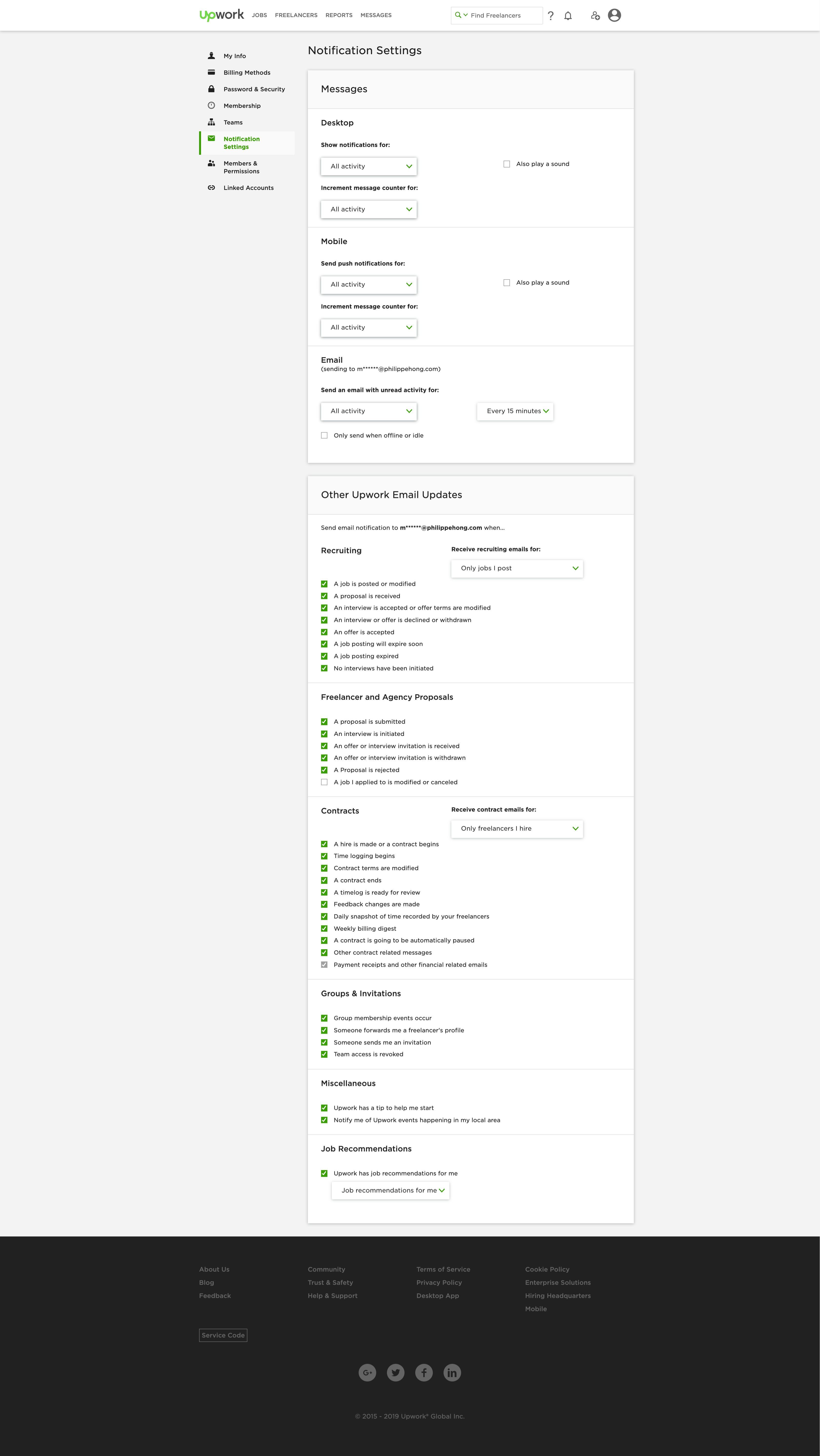 Notification Settings by Upwork
