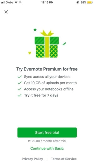 Pricing on iOS by Evernote from UIGarage