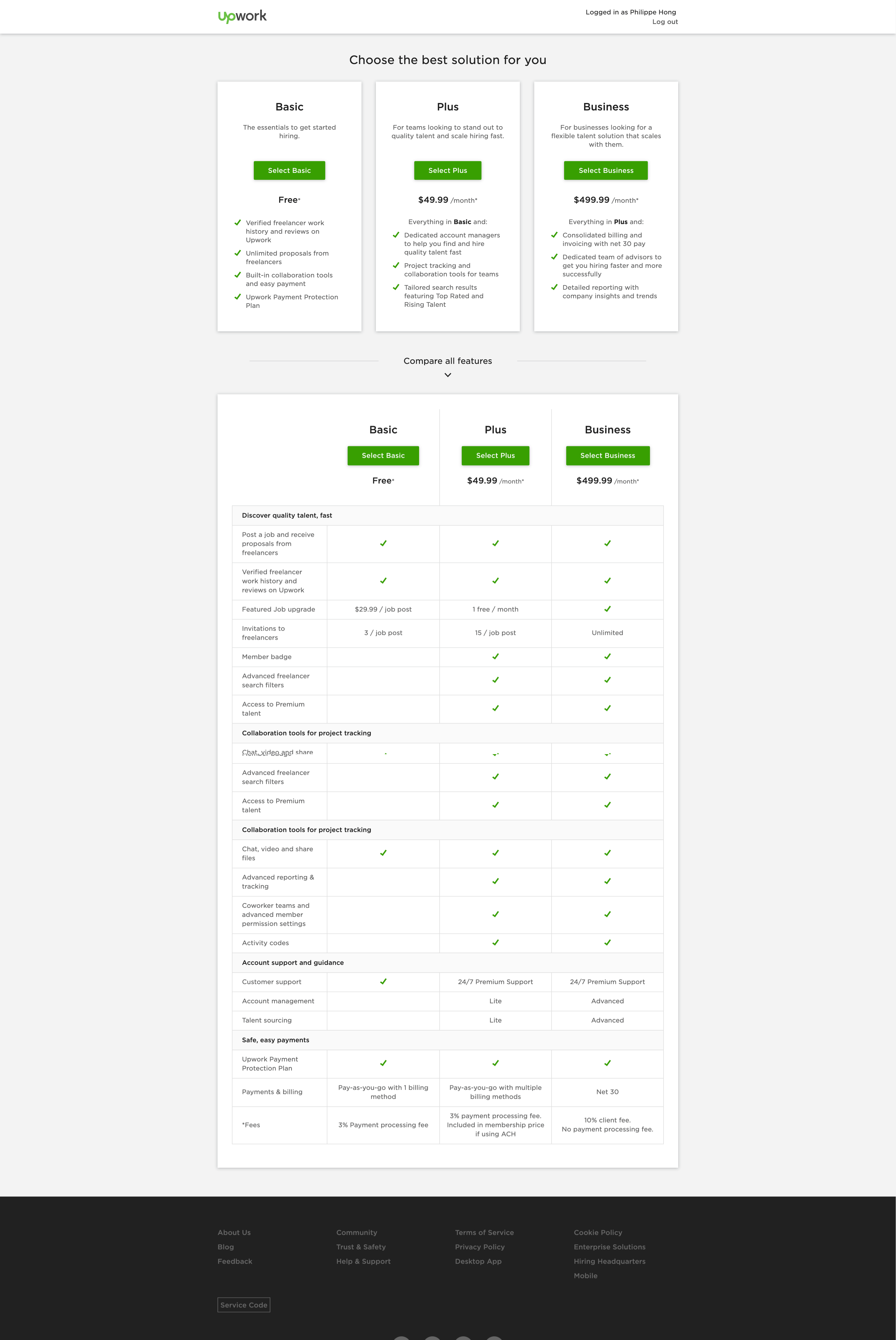 Pricing by Upwork