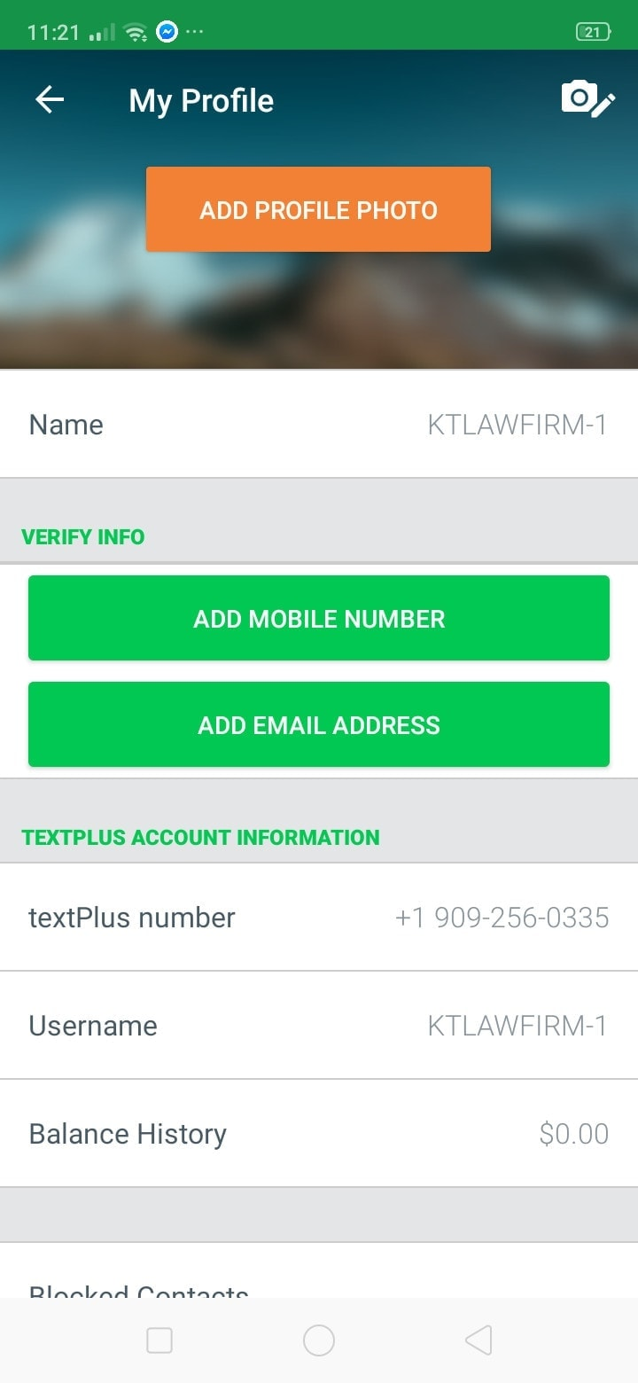 Profile on Android by Text Plus