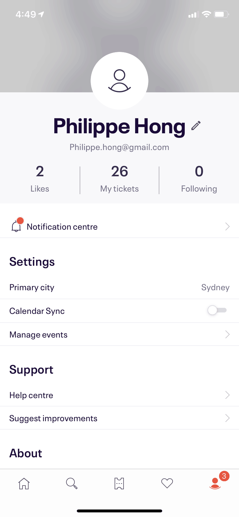 Profile Page on iOS by EventBrite