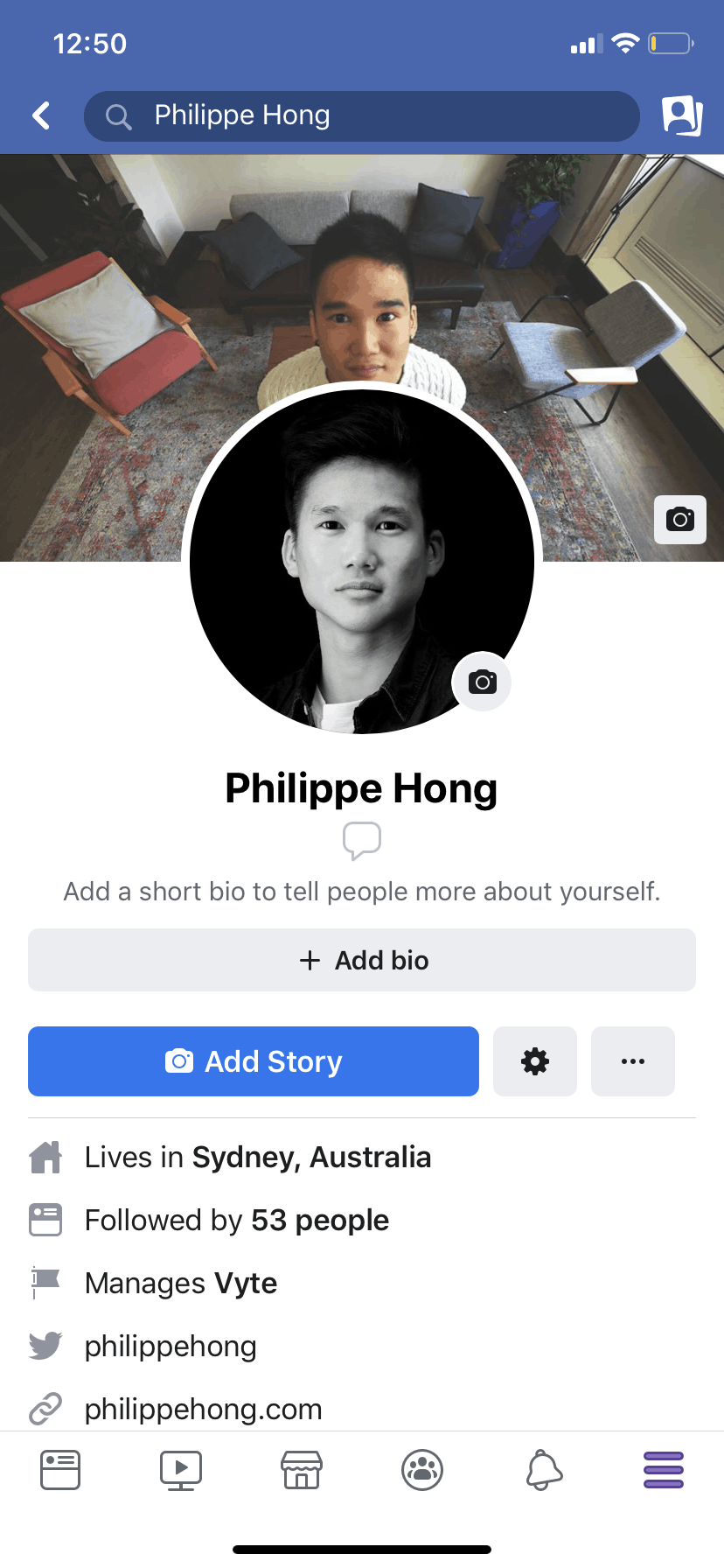 Profile Page on iOS by Facebook