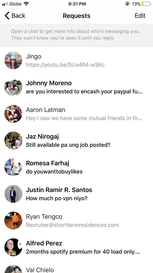 Requests on iOS by Facebook Messenger 2019