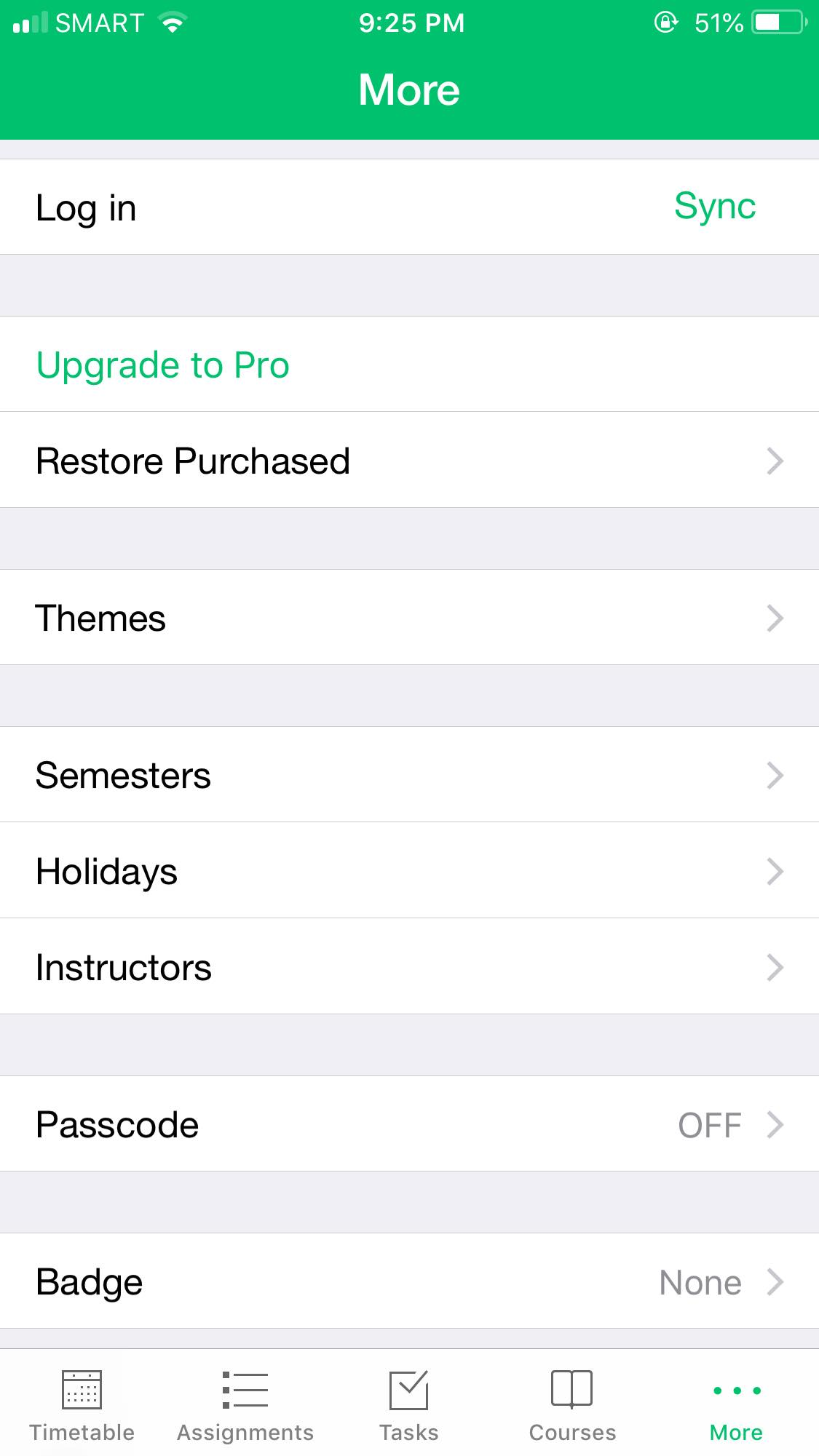 Settings on iOS by Pocket Schedule