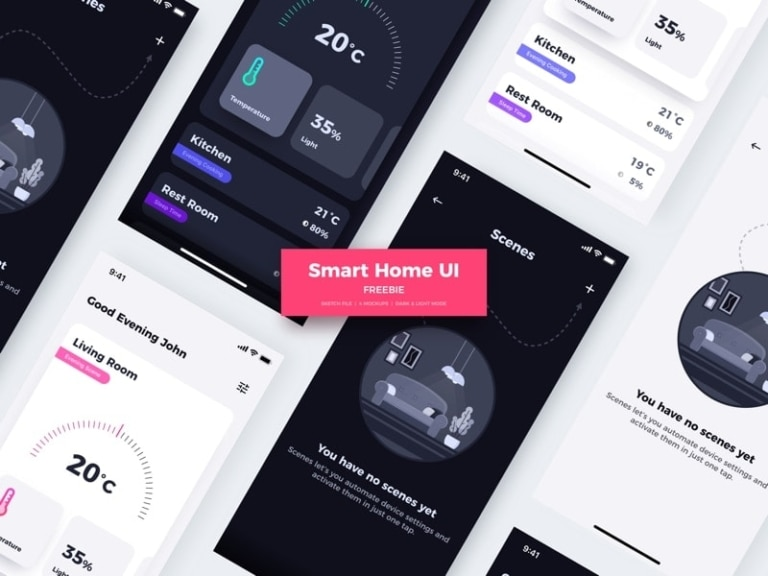 Smart Home UI Kit for Sketch from UIGarage
