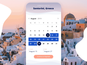 Travel App Datepicker on iOS from UIGarage