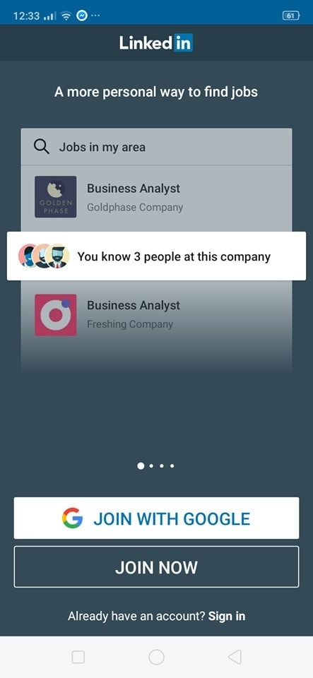Walkthrough on Android by Linked In