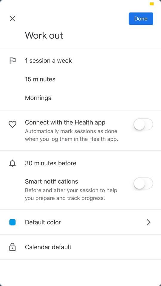 Work out on iOS by Google Calendar