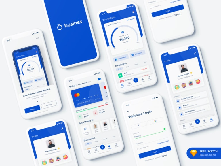 Busines - Bank App for Sketch from UIGarage