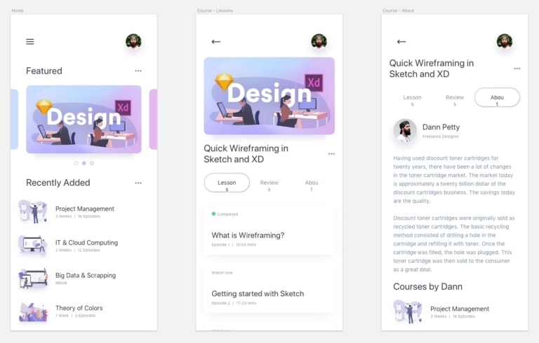 Online Courses UI Kit from UIGarage