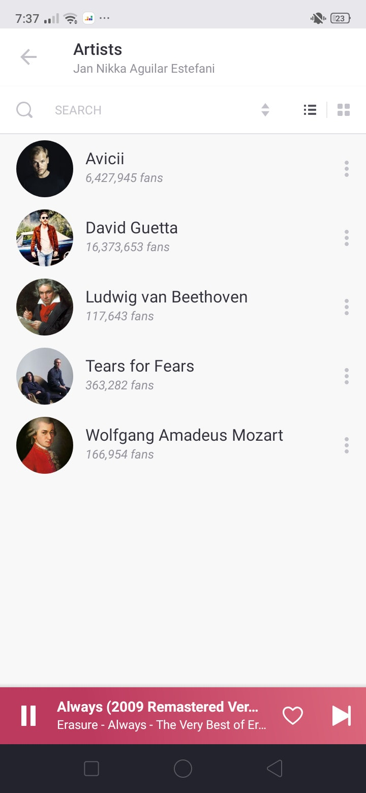 Artists on Android by Deezer
