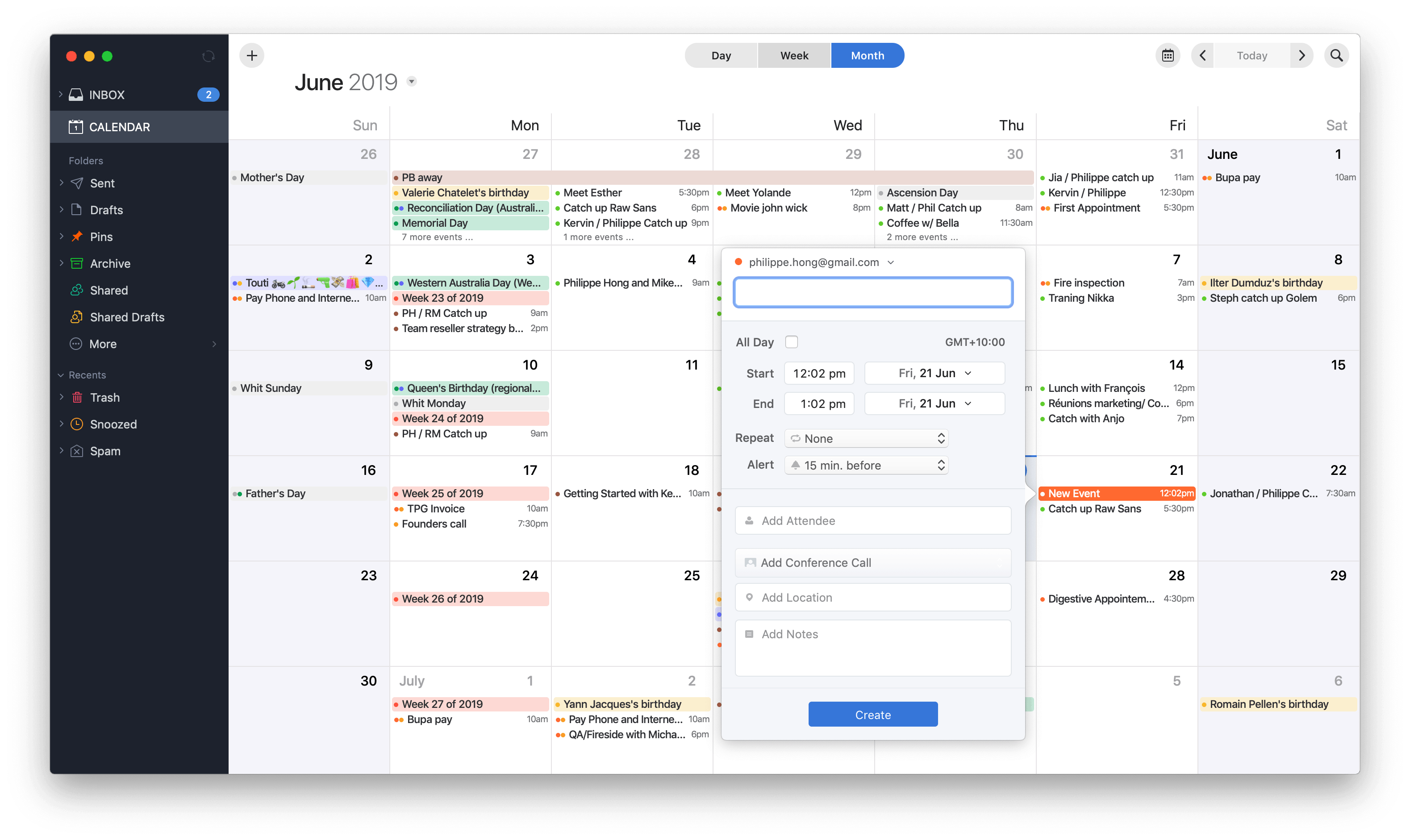 Create event on Spark Calendar on macOS