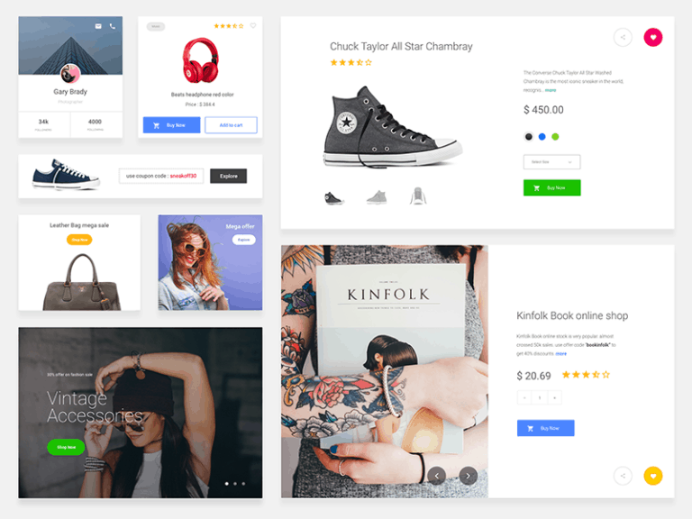 eCommerce Cards Free Sketch UI Kit from UIGarage