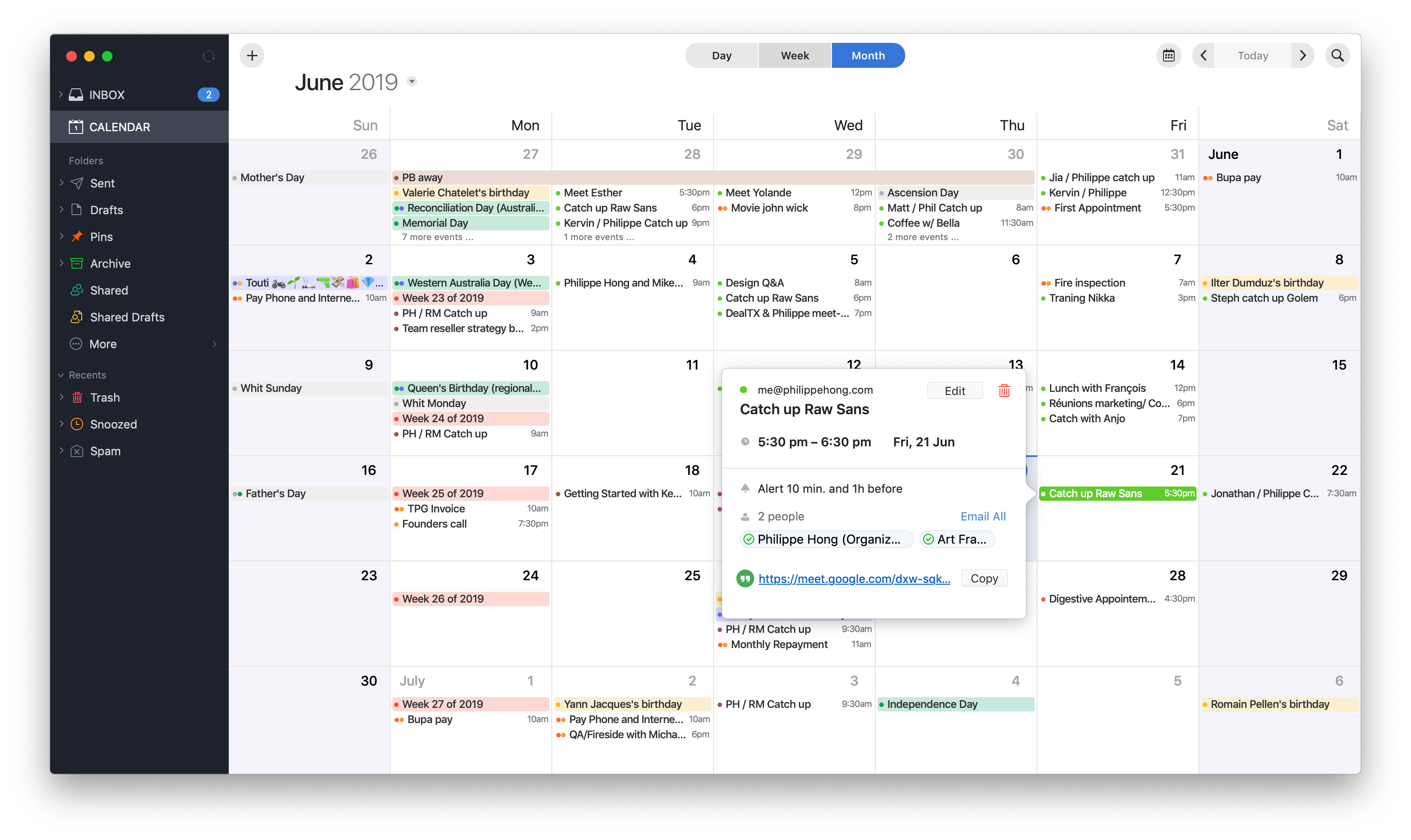 Event view in Calendar by Spark on macOS