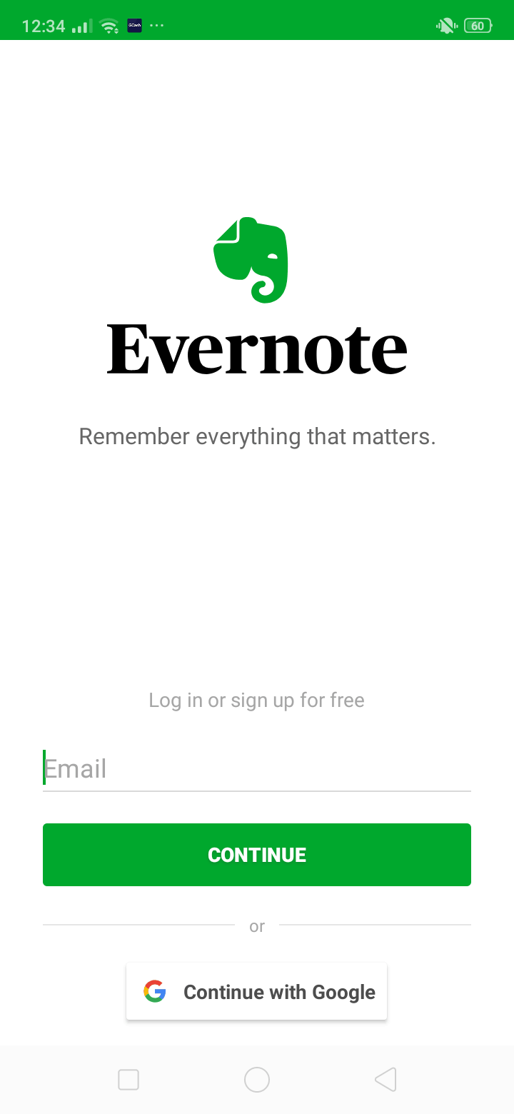 Log In on Android by Evernote