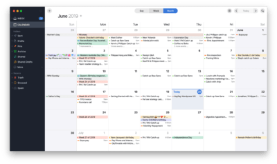 Monthly Calendar view by Spark on macOS from UIGarage
