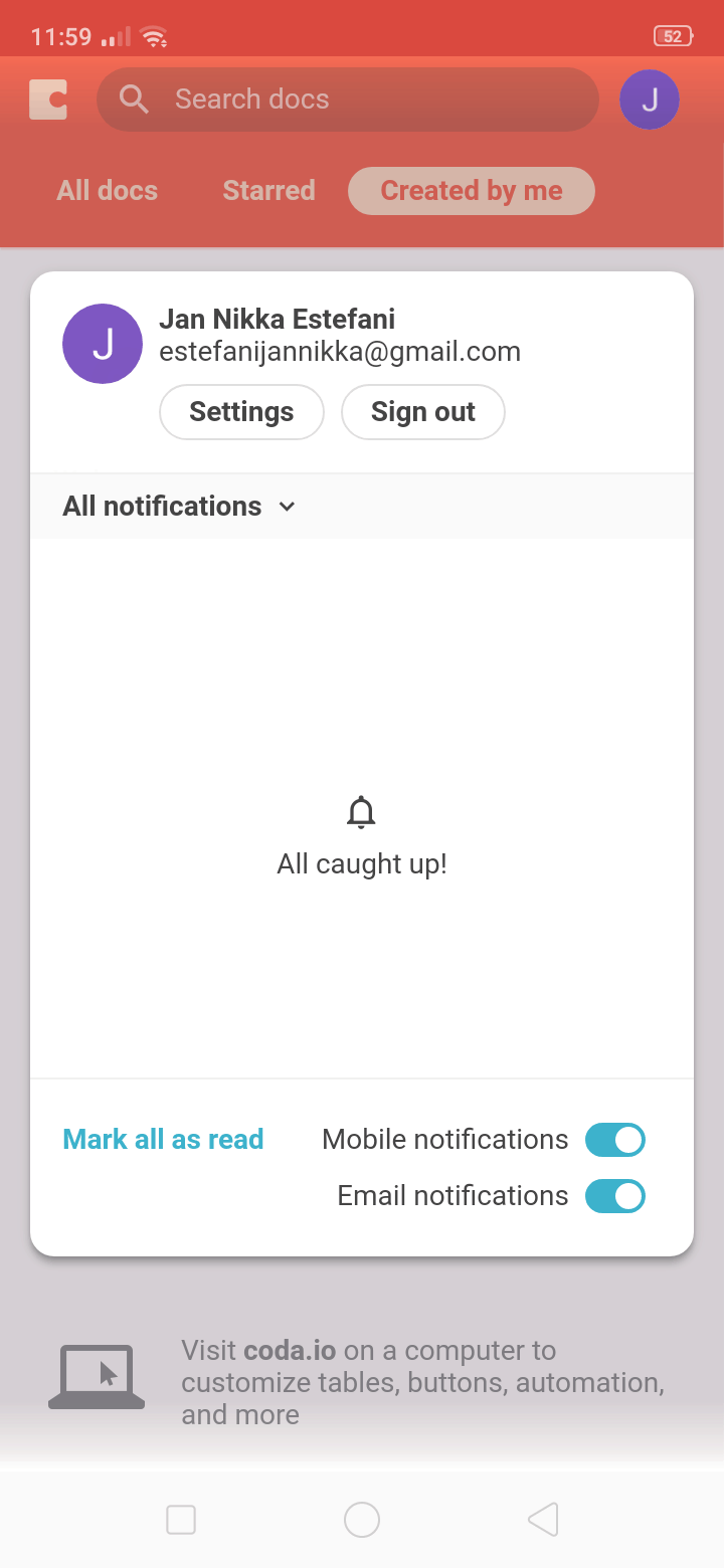 Notifications on Android by Coda