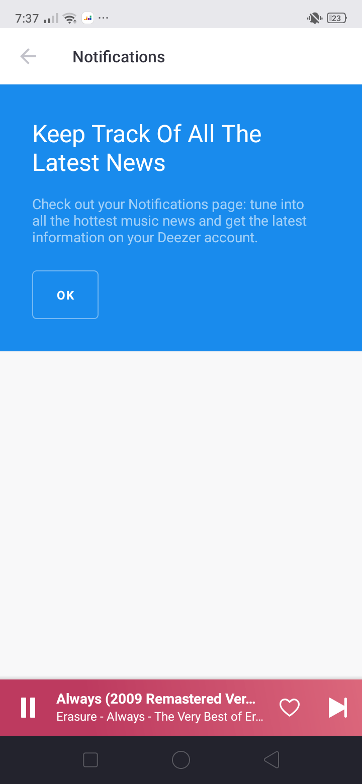 Notifications on Android by Deezer