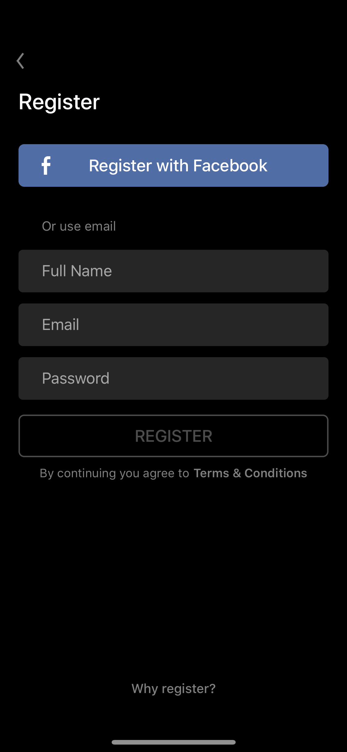 Register screen on iOS by Insight Timer