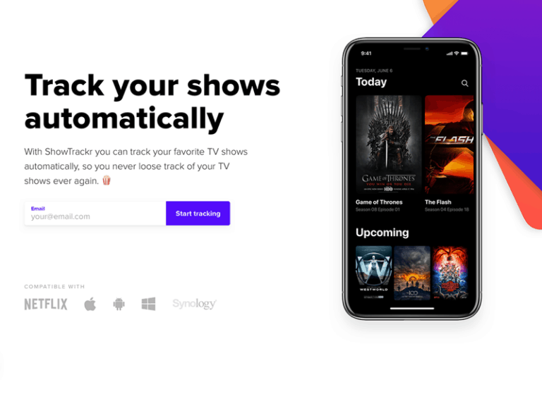 ShowTrackr Landing Page from UIGarage