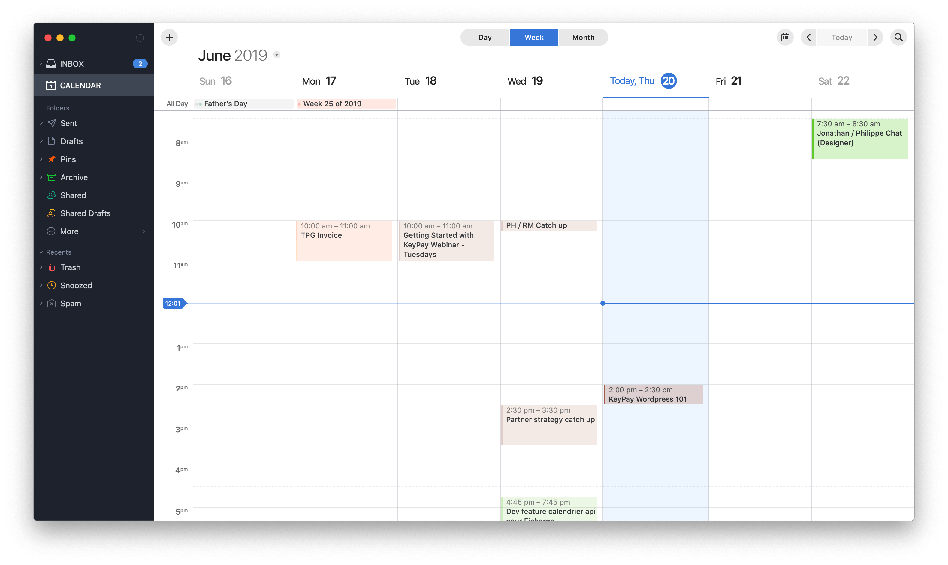 Weekly view Calendar view by Spark on macOS